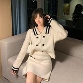 針織套裝 秋季氣質套裝女年新款韓版時尚洋氣針織上衣顯瘦短裙兩件套潮 雙十二全館免運