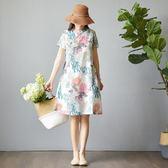 茶服 旗袍改良版棉麻連身裙寬鬆少女日常茶服夏大碼中式亞麻中國風女裝 曼慕衣櫃