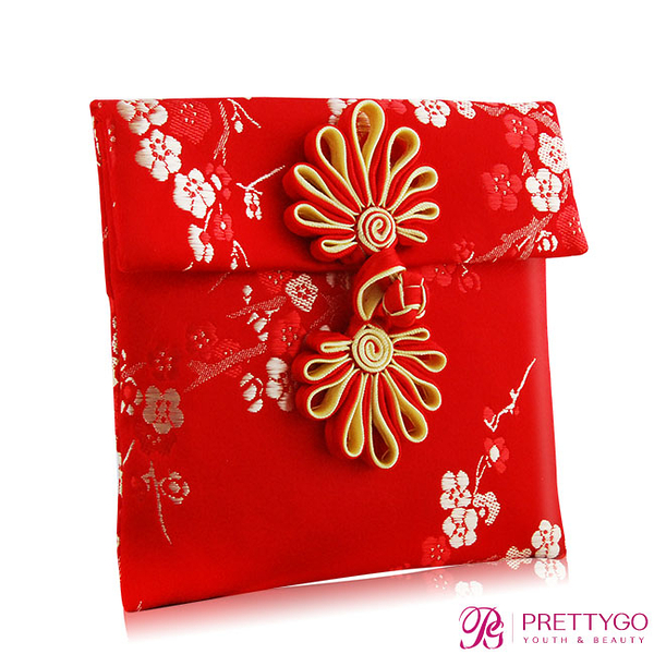 O'Pretty 歐沛媞 緞面刺繡紅包袋-梅花紋(10cmX10xm)【美麗購】