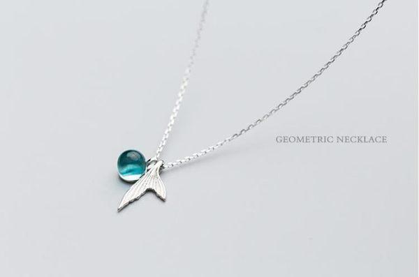 全館83折 美人魚藍色水晶S925純銀鎖骨項鍊女款簡約可愛學生閨蜜姐妹首飾品