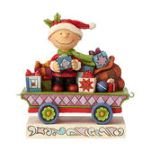 《Enesco精品雕塑》SNOOPY 查理布朗聖誕列車塑像-All Wrapped Up(Peanuts by Jim Shore)_EN96027