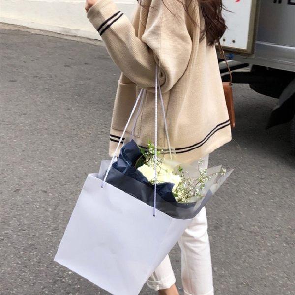 梨卡★現貨 - 秋冬氣質甜美純色寬鬆單排釦保暖毛衣風衣針織外套BR120
