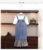 促銷價不退換T恤牛仔裙套裝中大尺碼XL-5XL/33631夏季新款女裝牛仔T恤套裝裙顯瘦減齡兩件套