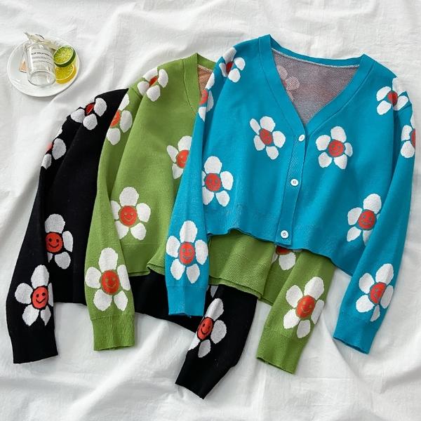 針織開衫 V領高腰短款外穿百搭針織開衫女秋冬季長袖毛衣外套潮