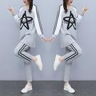 運動套裝女L-5XL韓版時尚休閑運動套裝印花拼接減齡兩件套F5025韓衣裳