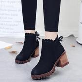 秋新款厚底粗跟花邊韓版女鞋短靴甜美馬丁靴百搭英倫女靴子