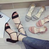涼鞋女中跟高跟鞋夏季百搭粗跟一字扣帶羅馬女鞋