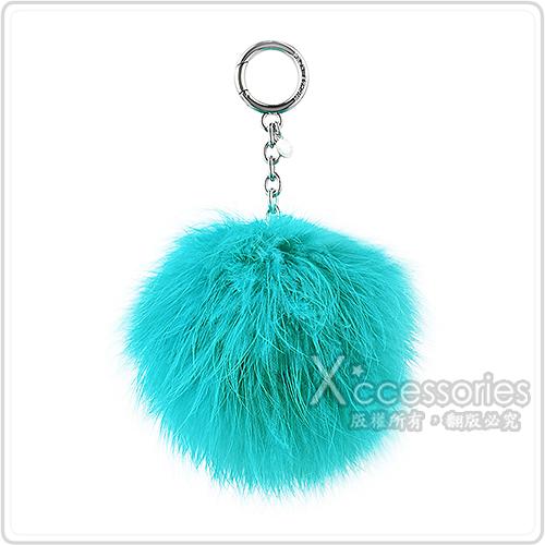 MK MICHAEL KORS CHARMS FUR POM POM毛球吊飾金屬鑰匙圈(土耳其藍)