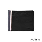 FOSSIL ELGIN 真皮實用雙色造型男夾-黑灰色 ML4179001