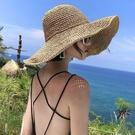 遮阳帽 草帽女小清新日系百搭蕾絲綁帶蝴蝶結帽子女夏出游大檐沙灘太陽帽