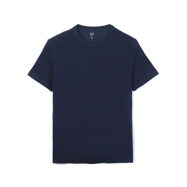 Gap男裝 基本款純色圓領短袖T恤 646574-海軍藍