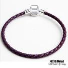紫色皮繩手鏈  DIY吊飾配件...