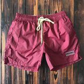 純色速干沙灘褲男  健身運動三分短褲帶內襯 海邊度假溫泉游泳褲