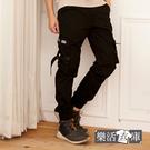 個性扣帶造型多口袋休閒縮口長褲 工裝褲(黑色)● 樂活衣庫【2085】