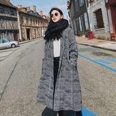 梨卡 - 氣勢大牌感格紋格子中長版超長版保暖防風毛呢繫帶綁帶外套風衣長大衣AR016