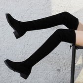 膝上靴 秋冬季歐美顯瘦長靴過膝靴韓版絨面長筒彈力靴粗跟高筒靴粗跟女鞋 1色35-40