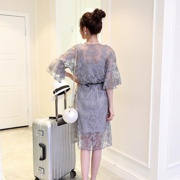 兩件式洋裝 夏季新款韓版大碼喇叭袖鏤空蕾絲連身裙中長款吊帶裙兩件套裝 【全館免運】