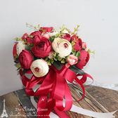 森系韓版仿真手捧花新娘新郎手捧花婚紗攝影拍攝道具婚慶道具 【PINK Q】
