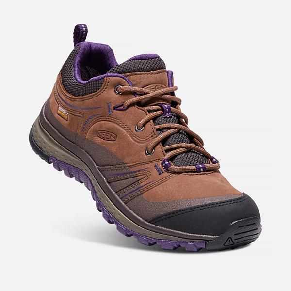 [KEEN] TERRADORA LEATHER WP (女) 健行鞋 咖啡/紫 (173-1017757)