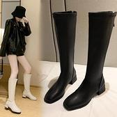 中筒靴 小腿粗高筒靴騎士靴子秋冬季方頭粗跟顯瘦中長靴女2021年新款平跟 寶貝計畫