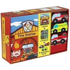 【我的夢想城鎮 My Little Village】消防站 MY LITTLE FIRE STATION /內含故事書+拼圖+木質偶