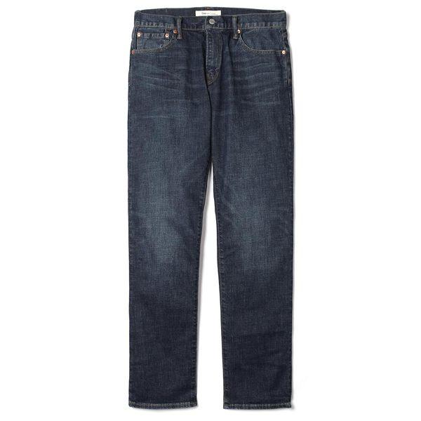 Gap男裝 彈力直筒男士牛仔褲 休閒中腰水洗長褲男 355317-深靛藍色