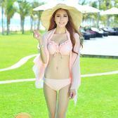 韓國新款小胸鋼托聚攏比基尼三件套泳衣女披紗泳裝性感分體游泳衣  草莓妞妞