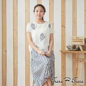【Tiara Tiara】百貨同步 森林系枝葉緹花短袖上衣(白)