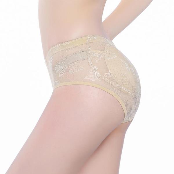 加墊海綿高腰提臀內褲女蕾絲翹臀假屁股豐臀無痕收腹美臀塑身褲女