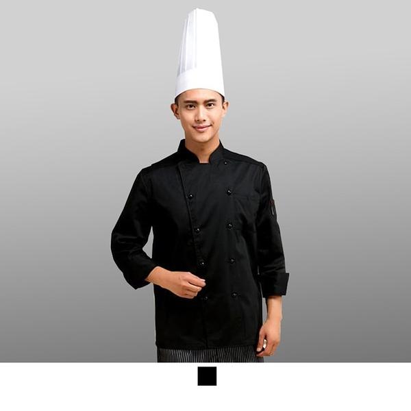 晶輝專業團體制服*CH030*酒酒店廚師服長袖蛋糕店烘焙廚房食堂工作服黑色雙排扣