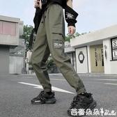 新款cargo加絨工裝褲女韓版寬鬆bf束腳休閒 秋冬運動褲潮『快速出貨』