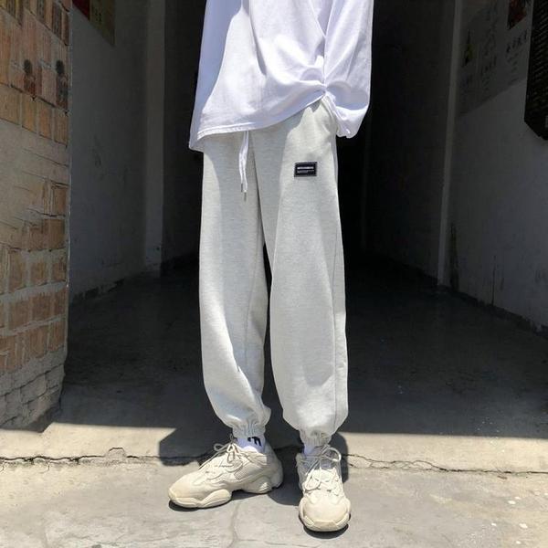 新品特惠# 衛褲貼標運動褲子男生韓版百搭寬松束腳褲秋季青少年休閑長褲