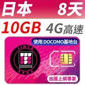 【TPHONE上網專家】日本DOCOMO 高速上網卡 8天無限上網 前10GB高速 (可支援當地4G上網)