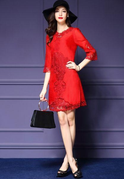 洋裝  韓版刺繡網紗連身裙七分袖 2色 S-3XL #rs003fm ❤卡樂store❤