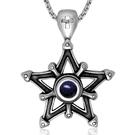 《QBOX 》FASHION 飾品【CSP427】精緻個性歐美十字架星砂石五芒星鑄造鈦鋼墬子項鍊/掛飾