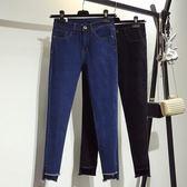 中大尺碼L-5XL牛仔長褲女200斤胖妹妹新款韓版高腰小脚褲九分褲R26-A751