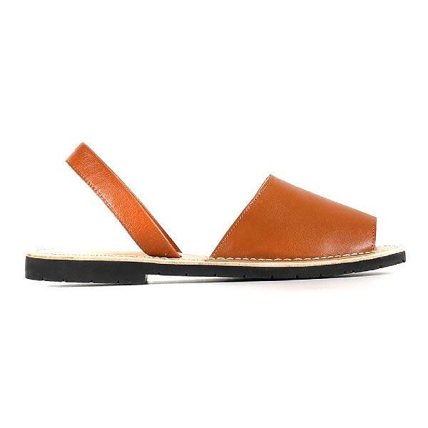 ALL BLACK   復古寬帶魚口平底涼鞋-- 棕