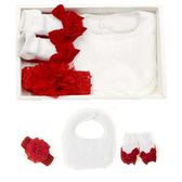 美國FMC X 日安朵朵 女嬰配件禮盒 復古女伶 (圍兜+髮帶+寶寶襪) 彌月滿月周歲生日禮 002 好娃娃