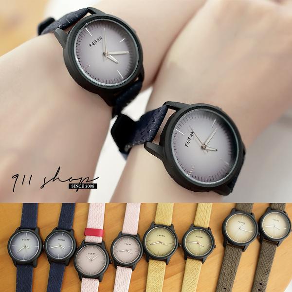 Marble.香港FEIFAN。黑框色塊蛇紋皮革帶手錶/情侶對錶【ta029】*911 SHOP*