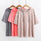 透氣速乾布料 彩色條紋棉帽上衣-多尺碼 獨具衣格