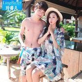 海邊度假情侶泳衣女三件式分體泳衣小胸鋼托聚攏沙灘比基尼遊泳衣