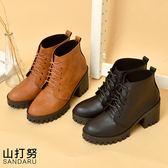 靴子 柔軟皮革素面綁帶粗跟短靴- 山打努SANDARU【2463185#54】