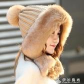 秋冬天韓版出游甜美可愛青少年女帽子高頂無檐護耳保暖公主雷鋒帽 伊衫風尚