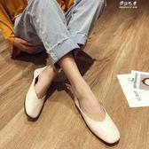 開春新款韓版淺口單鞋百搭軟底方頭女鞋兩穿一腳蹬平底奶奶鞋 伊莎公主
