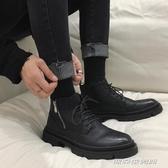鞋子男潮鞋秋冬新款英倫休閒黑色皮靴側邊拉錬高筒馬丁靴男潮皮鞋 【傑克型男館】