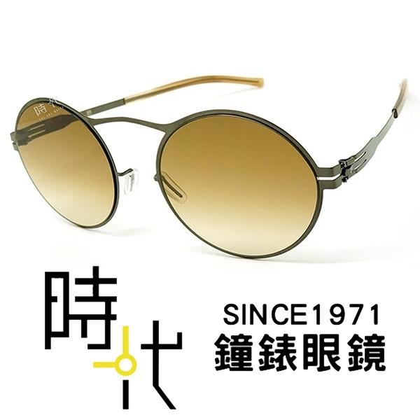 【台南 時代眼鏡 ic! berlin】Gulcin U. gun metal 德國薄鋼 無螺絲 橢圓框太陽眼鏡 灰 53mm