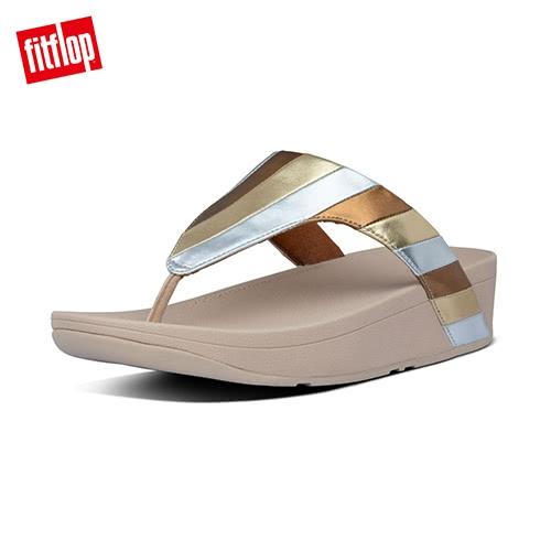 新降7折【FitFlop】LOTTIE PATCHWORK  多彩金屬光拼接夾腳涼鞋-女(七彩金)