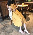 復古韓國chic風女人味氣質純色單排扣吊帶洋裝露肩A字裙子 韓語空間