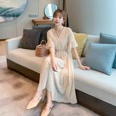 韓系 洋裝 夏新款S-XL雪紡連身裙碎花顯瘦氣質女神範仙女氣甜美複古9081 H325 依品國際