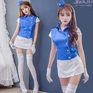 空姐服 角色扮演領航員 藍白空中小姐套裝...